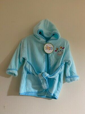Baby Robe Dressing Gown With Hood 0-6 Months Blue- Baby Boy