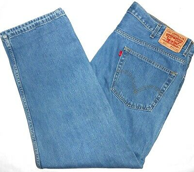 44x30 Levi Strauss 550 Relaxed Fit Blue Jeans 100% Cotton Red Tab Men's Denim