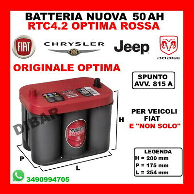 Batterie 50AH Optima Neuf Chrysler PT Cruiser 2.2 CRD de 02 KW89 CV121 Edj 15