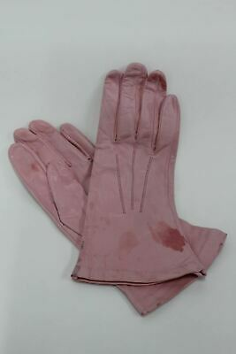 ASPINAL OF LONDON Ladies 100% Silk Lined Pastel Pink Leather Gloves Sz 6.5 NEW