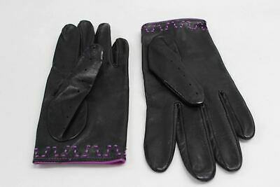 ASPINAL OF LONDON Ladies Leather Purple Black Driving Short Gloves Size 7.5 NEW
