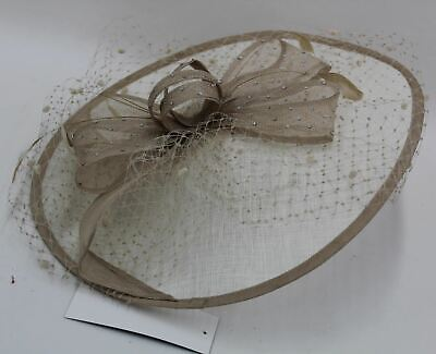 COUTURE CLUB Ivory & Toffee Sinamay Headband Hatinator Fascinator Hat NEW