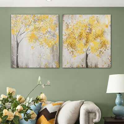 2Pcs 30x30cm Yellow Blossom Flower Trees Canvas Printing Picture Art