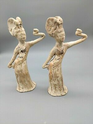 A Pair of Rare Chinese Antique Tang Dynasty Pottery Dancers