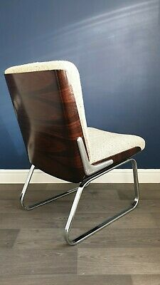 Pair Of Bent Rosewood & Chrome 1980s Retro Chairs Rare Find Mid century