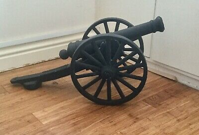 Cast Iron Heavy Cannon Garden Sculpture 72cm Long