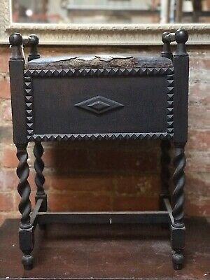 Antique Vintage Wooden Piano Dressing Table Stool Barley Twist Legs