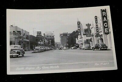 RPPC Postcard S Virginia Street Reno Nevada Signs US Tires Chevron Plymouth ++