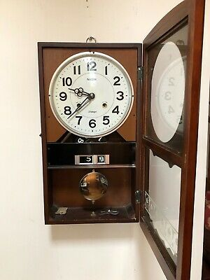 Vintage Acctim 31 Day Wooden Wall Clock Day Date & Chim (Spares or Repair)