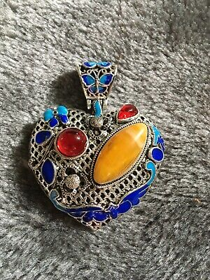Collect Old Miao Silver & Cloisonné Hand-Carved Butterfly Delicate Decor Pendant