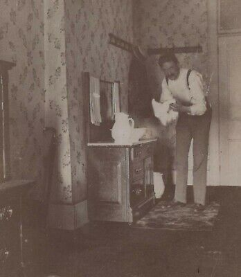 Man Wash Stand Pitcher Bowl American Hotel Interior Cleveland OH Antique Photo