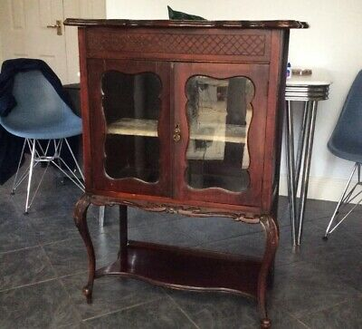 Small Antique Victorian Carved mahogany display cabinet 40 X 30 Inches Lockable