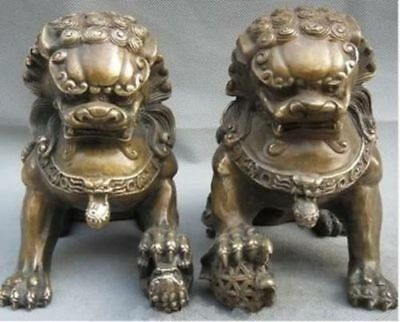 China old Bronze Door Fengshui Guardion Foo Fu Dog Lion Statue Pair