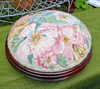 Beautiful Small Round Mahogany Victorian Style Footstool~Embroidered Tapestry