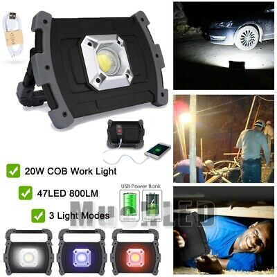 20W USB Rechargeable Solar LED COB Work ight Camping Emergency Lamp Floodlight@