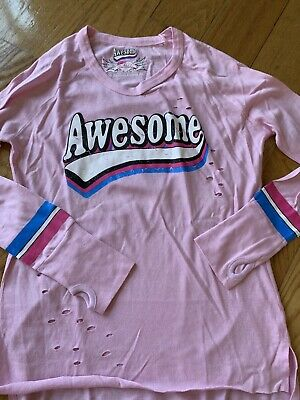 girls long sleeve cotton tshirt by So Nikki Size 14 Pink Long Sleeve Top Awesome