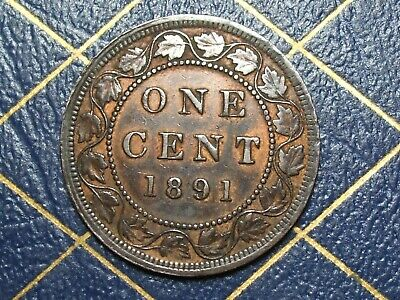Very Nice 1891 Canada Large Cent Queen Victoria  lot 6