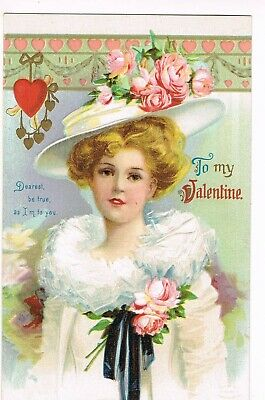 """ANTIQUE EMBOSSED VALENTINE Postcard       """"DEAREST BE TRUE AS I'M TO YOU"""""""