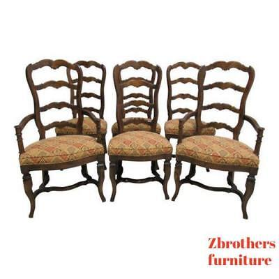 6 Vintage Century Furnture Country French ladder back Dining Room Chairs Set
