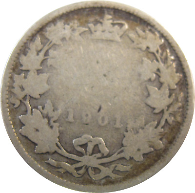 1901 - Canada - 25 Cent Silver Coin - Free Shipping !!! - #480