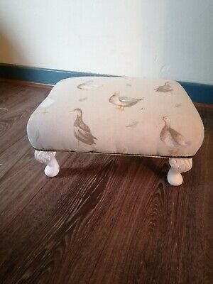 Small VINTAGE OAK FOOTSTOOL With reupholstered CUSHION - OAK FOOT STOOL