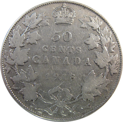 1918 - Canada - 50 Cent Silver Coin - Free Shipping !!! - #498