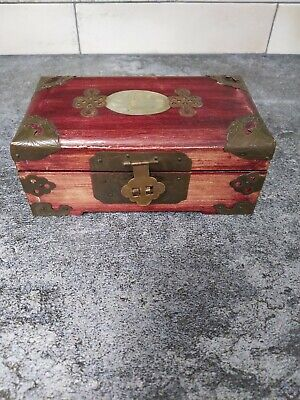 Vintage antique rosewood brass Chinese Shanghai jewelry box carved faux jade