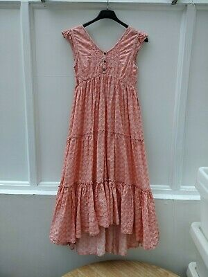 Next Girls Maxi Dress Pink and Red Print with Silver Thread Age 11 years (255)