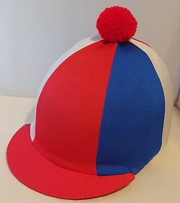 Riding Hat Cover - Red, White & Royal Blue With Red Pompom