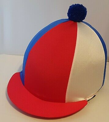Riding Hat Cover - Red, Royal Blue & White With Royal Blue Pompom