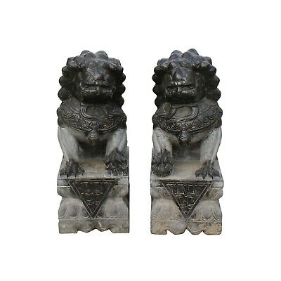 Chinese Pair Black Gray Stone Fengshui Pedestal Foo Dog Statues Small cs5545