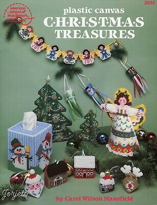 Christmas Treasures, Trees Angels Squeezums plastic canvas pattern booklet NEW