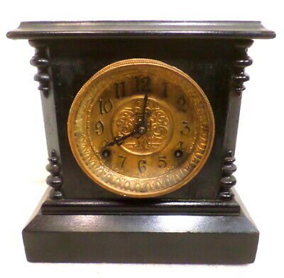 1985 American Ingraham Black Mantle Clock With Rococo Brass Dial Insert