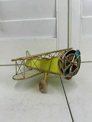 Vintage Stained Glass Kaleidoscope Airplane Bi-Plane HAND MADE