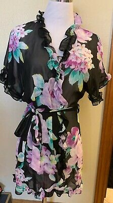 In Bloom by Jonquil Womens Robe Short Wrap Ruffle  Blue Sheer Floral EXC