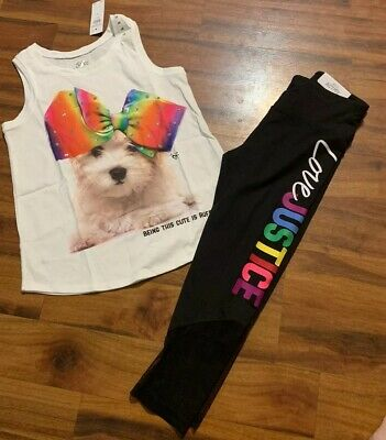 New Justice Size 10 Outfit Dog Bow Tank Top & Rainbow Logo Capri Crop Leggings