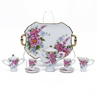 Porcelain 10 Pc Mini Miniature Spring Flowers Tea Set Teapot Creamer Sugar New!