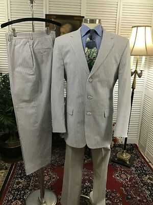 COOL SUMMER SEARSUCKER JOS A BANK MENS 2 TWO PIECE SUIT 42L  PANTS: 34x30  #B7