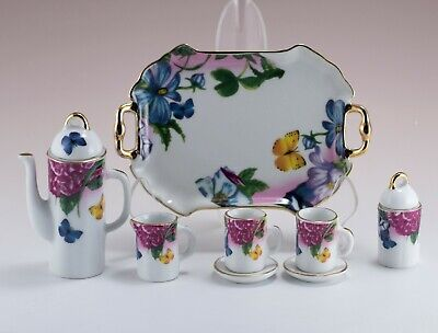 Porcelain 10 Pc Mini Miniature Flowers With Butterflies Tea Set Teapot New!