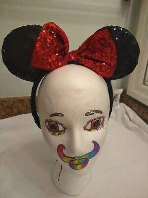 Disney Parks Authentic Minnie Mouse Ears Headband black with Red Bow Sequins
