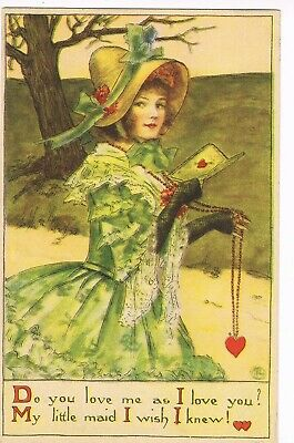 ANTIQUE VALENTINE Postcard    YOUNG LADY, LONG GLOVES, HOLDING HEART ON A CHAIN