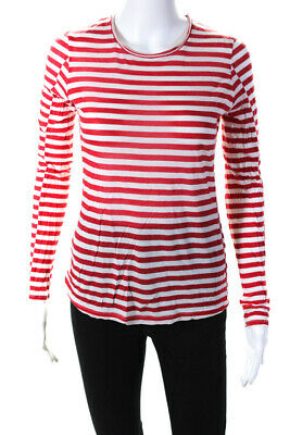 Rag & Bone Womens Long Sleeve Striped Top Red White Size Small