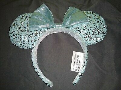 Disney Parks Minnie Mouse Bow Frozen Arendelle Aqua Sequin Ear Headband
