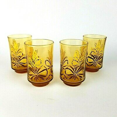 Amber Glass with Golden Wheat Sheaves and Ribbon Bows Vintage Set of 4 Libbey Gold Bounty 12oz Tumblers