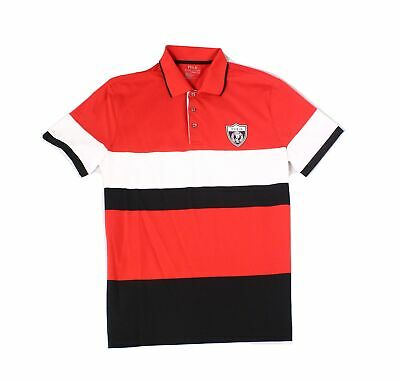 Polo Ralph Lauren Mens Shirt Red Size Medium M Colorblock Polo Rugby $168 #014