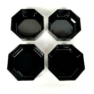 Arcoroc Octime Octagon Black Glass French Modern Bowl Set Lot of 4 Cereal Soup