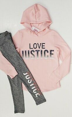 NWT Justice Girls Size 8 Strong Sequin Hoodie Top /& Black Heart Leggings