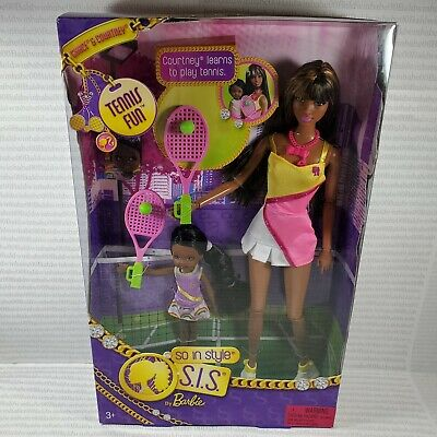 Nrfb (N34) Barbie Sis Aa So In Style Grace & Sister Courtney Tennis Fun Doll Mib