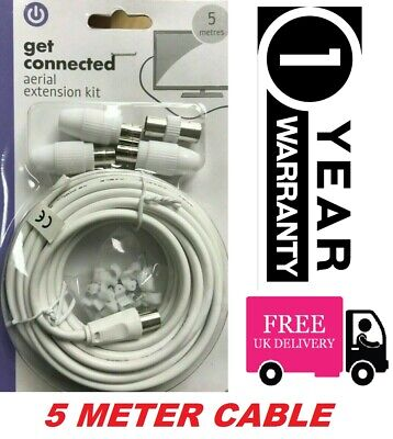 5m TV Aerial Extension Kit Coaxical Cable Lead 2 WAY Splitter Freeview Digital