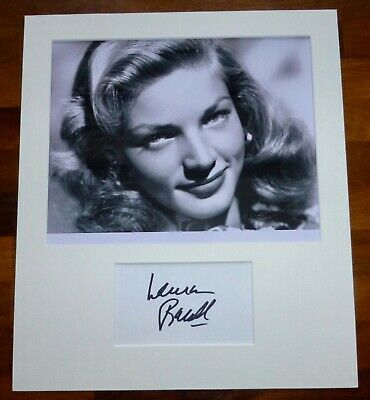 LAUREN BACALL-Hand Signed Card is Presented With A Photo-Mounted & Matted,COA